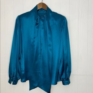 Oleg Cassini | Vintage Teal Blue Silk Top